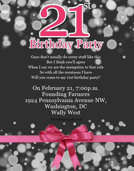 Wording For 21st Birthday Party Invitations Wedding Invitation – 21 Party Invitations