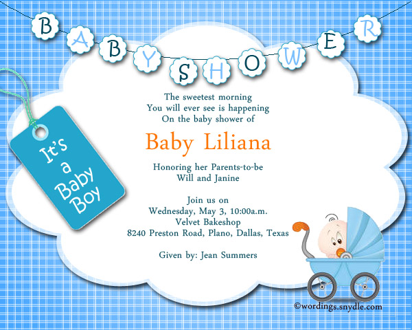 Baby Shower Party Invitation Wording Wordingessages