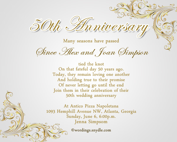 50th Wedding Anniversary Invitation Greetings