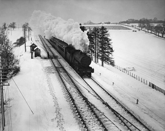 Train on winter