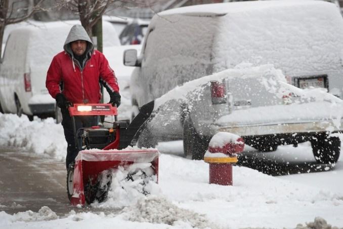 Shoveling snow on winter