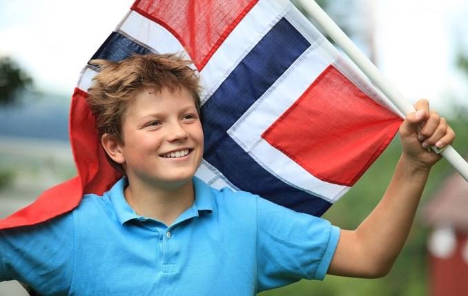 Boy with Norwegian Flag