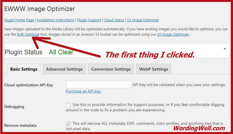 Where to find the Bulk Optimize option