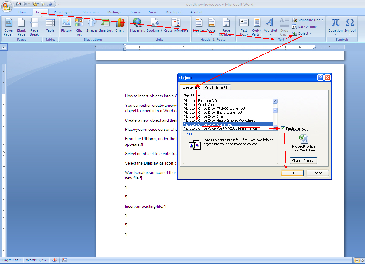 How To Insert Objects Into Word By Embedding Or Linking Ms Word Know How