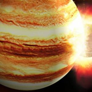Young Jupiter smacked head-on by a Planet