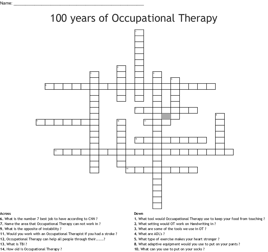 Occupational Therapy Month Crossword