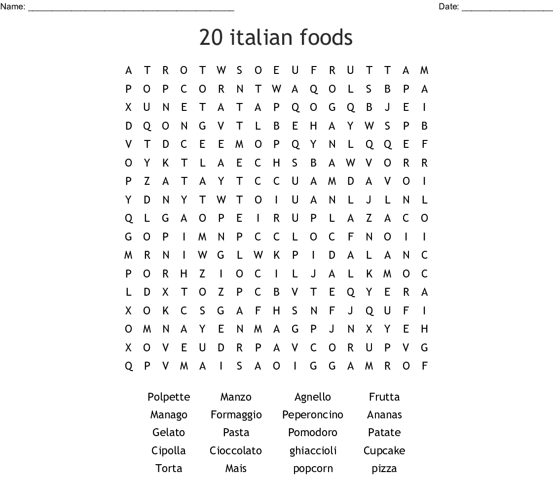 Italian Language Crosswords Word Searches Bingo Cards