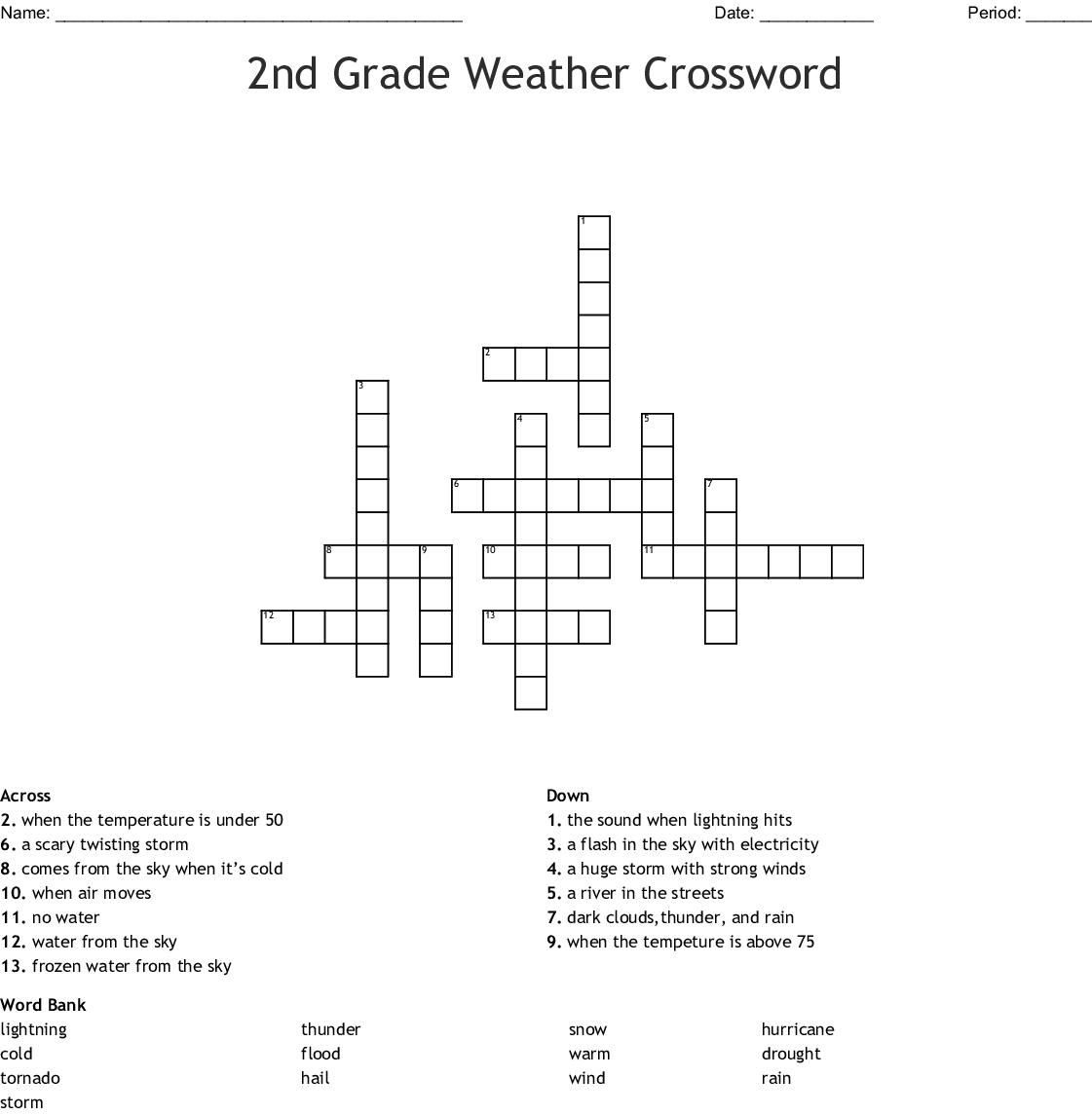 2nd Grade Weather Crossword