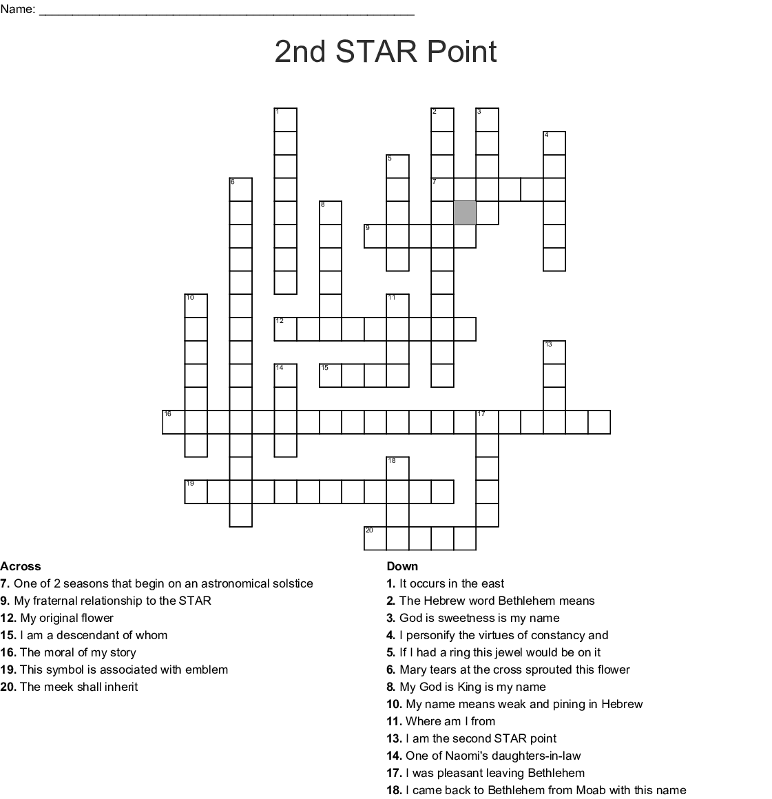 Eastern Star Crossword