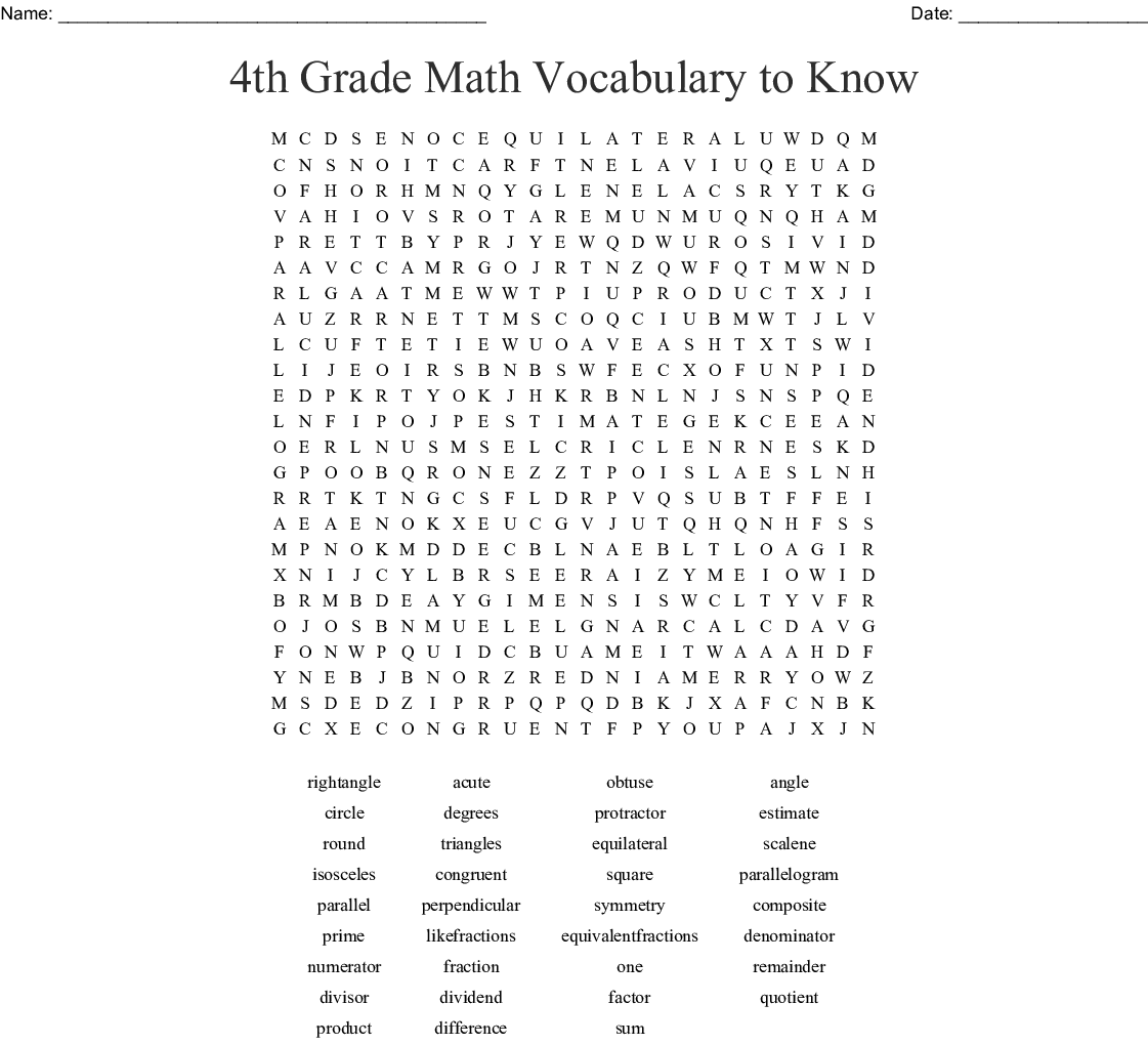 For 4th Grade Math Worksheet Word Search