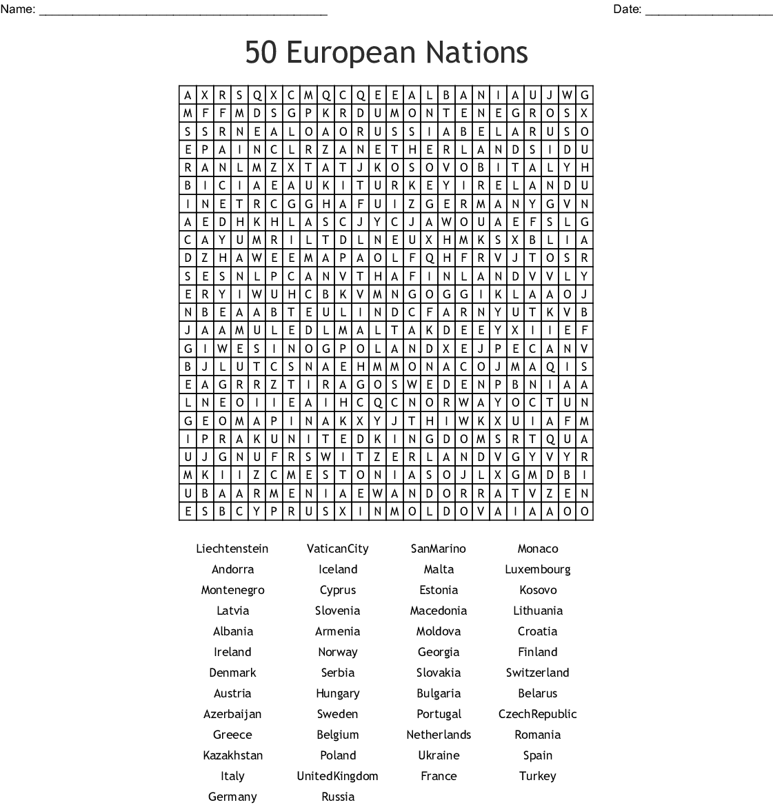 50 European Nations Word Search