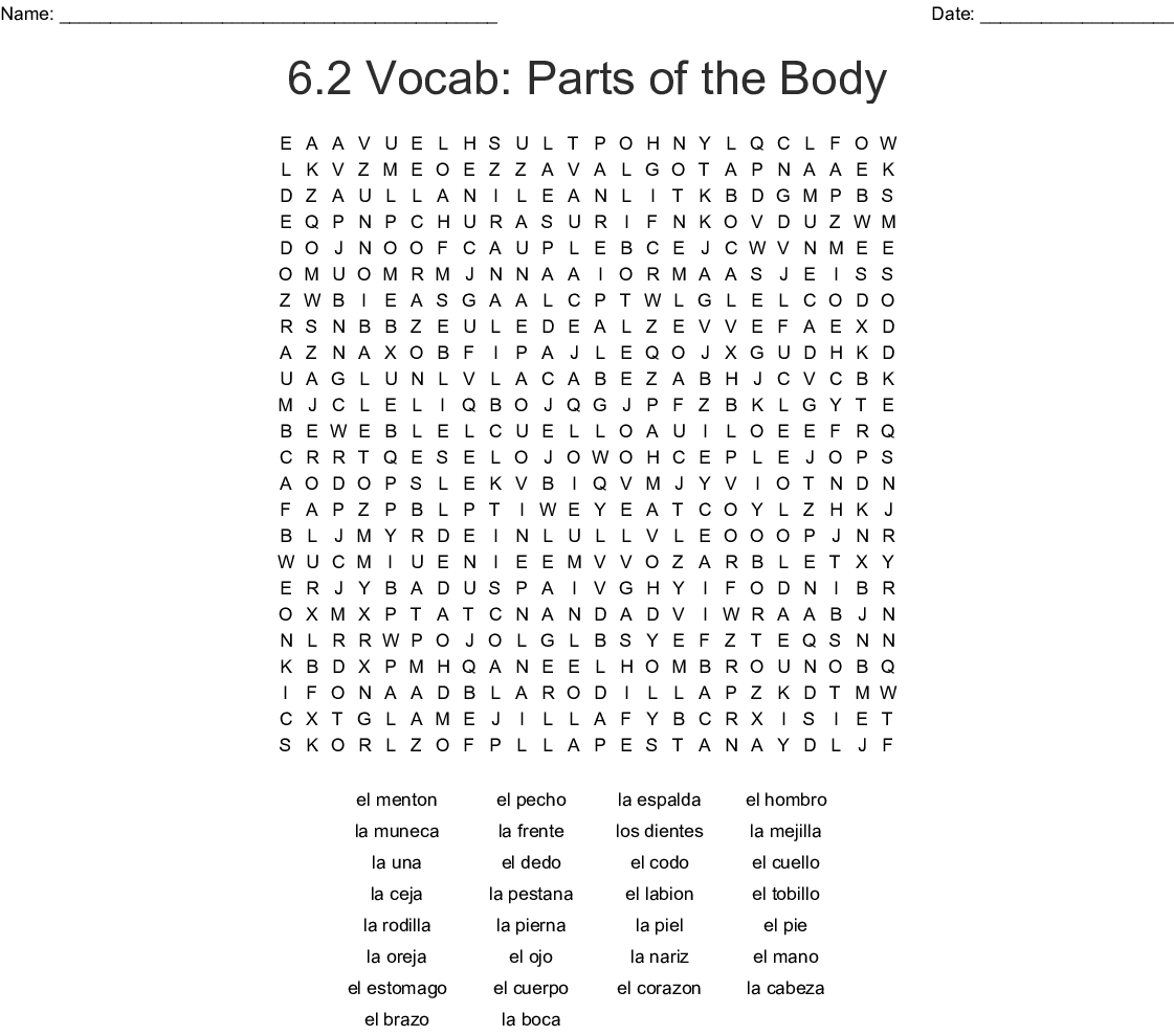 Spanish Body Parts Word Search