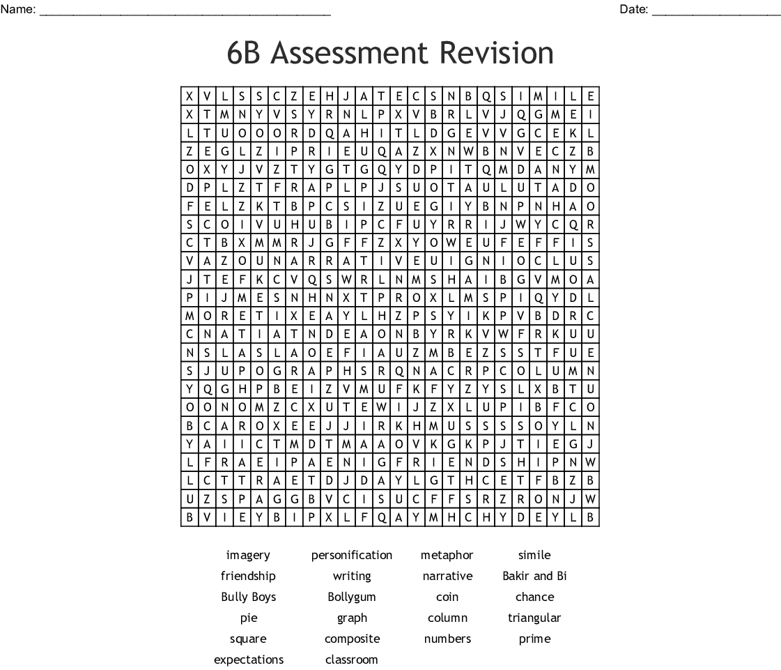 6b Assessment Revision Word Search