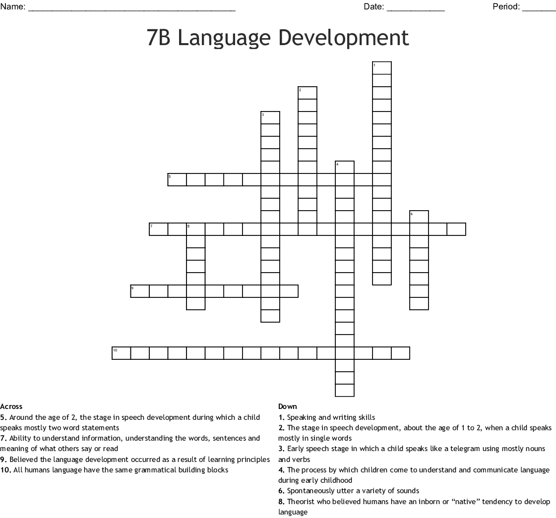 7b Language Development Crossword