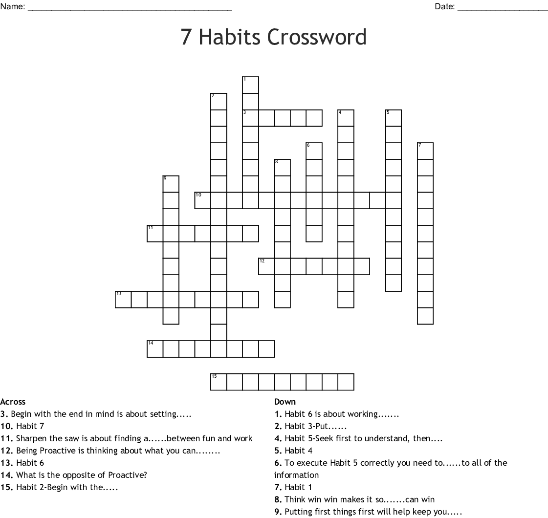 The 7 Habits Word Search