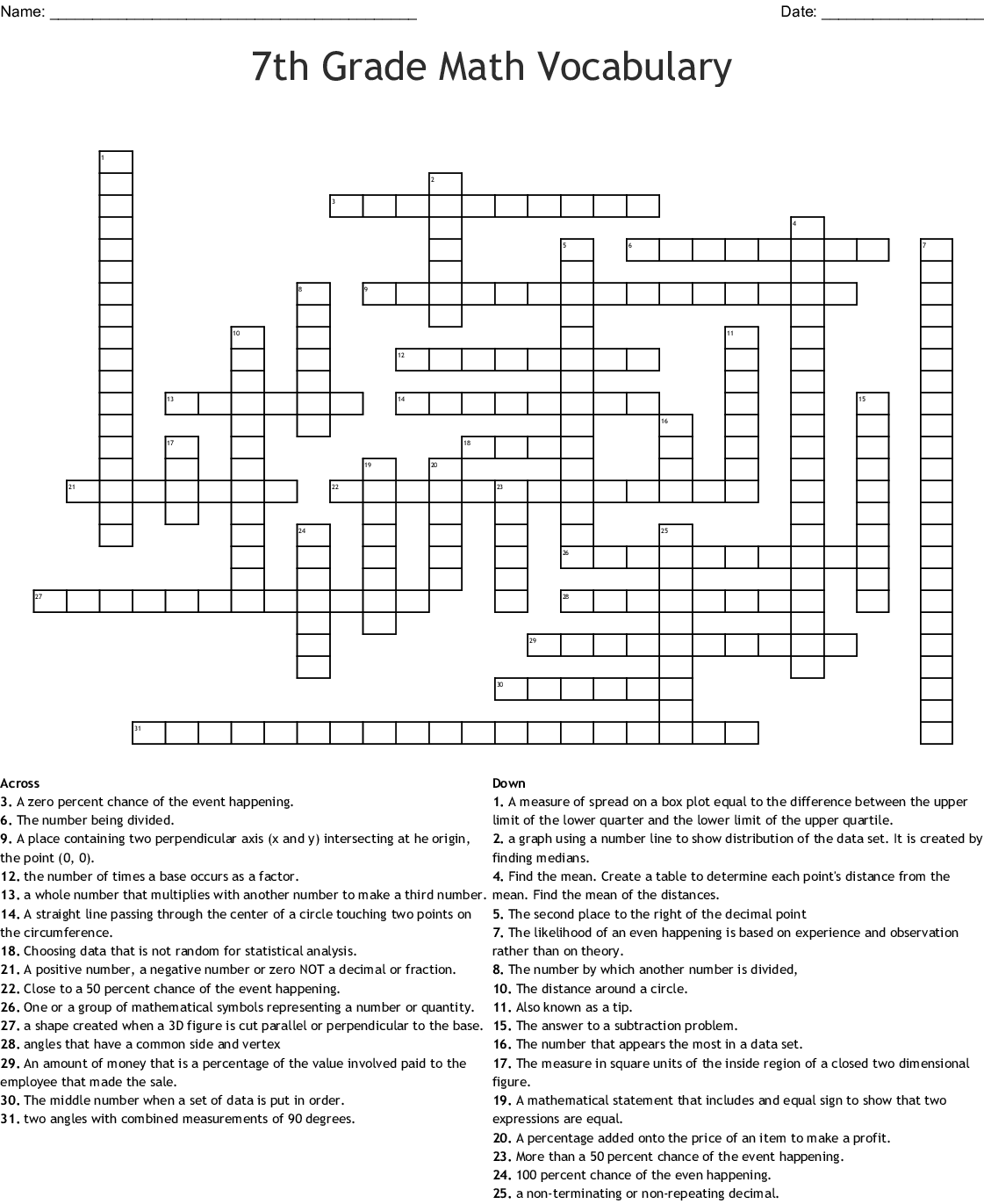 Printable Word Searches 7th Grade Worksheet