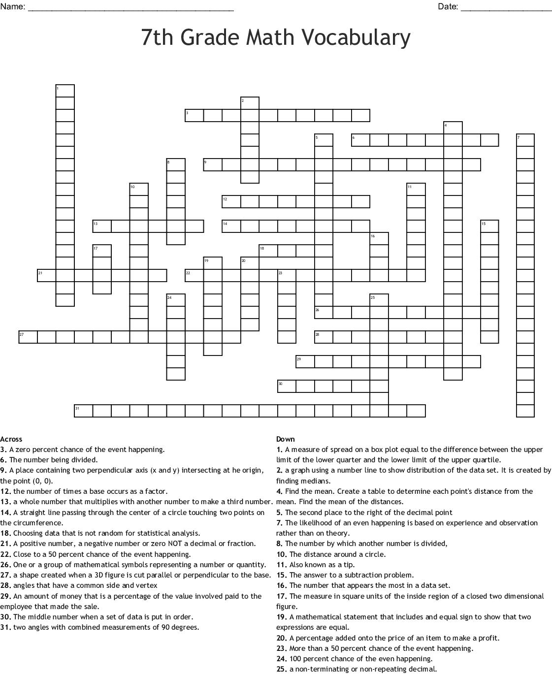 Crossword Puzzle Math Words