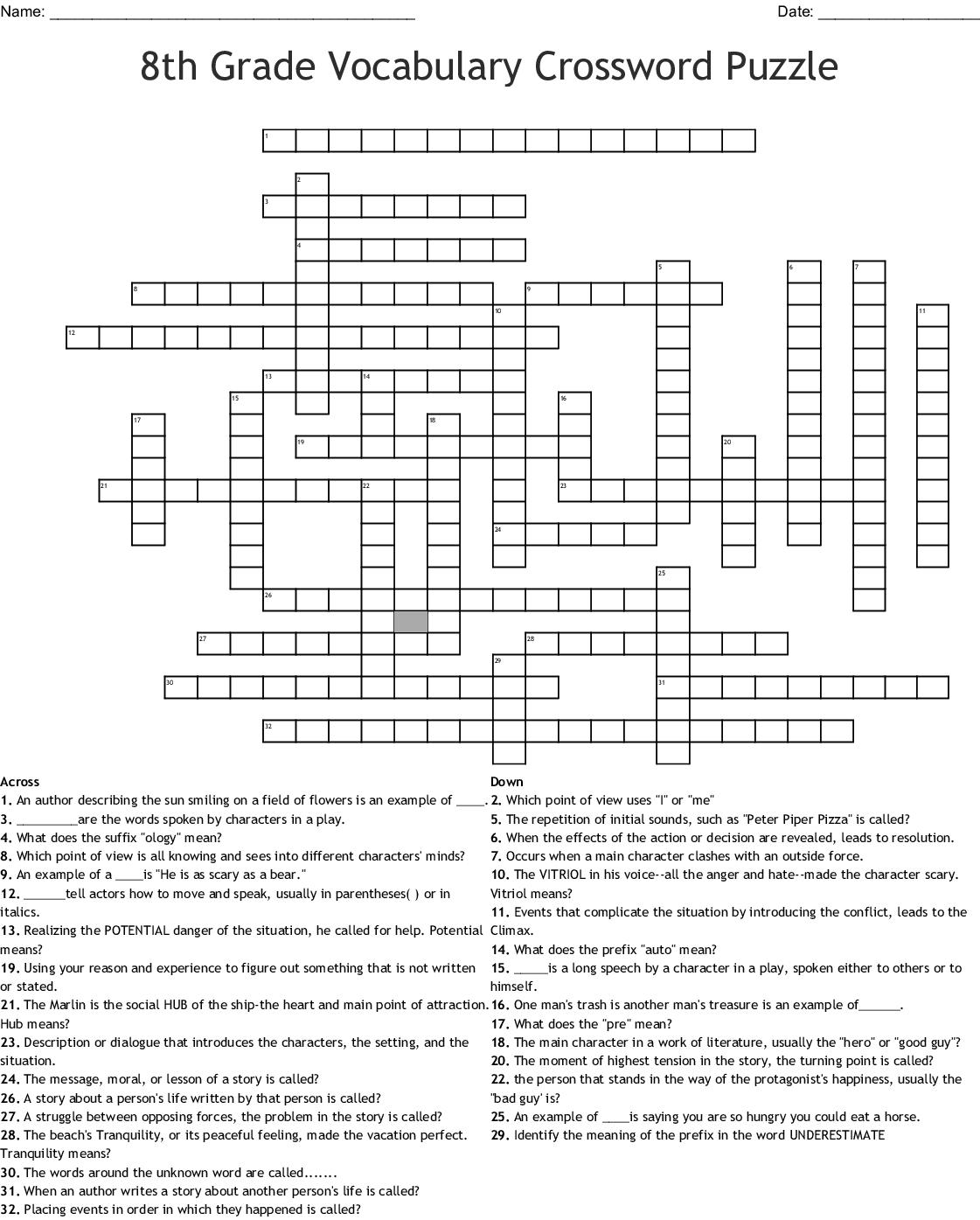 Story Elements Crossword