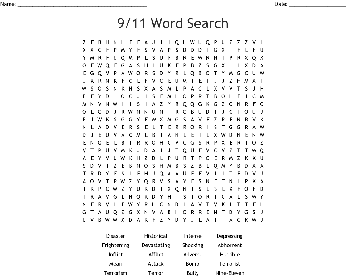 9 11 Word Search