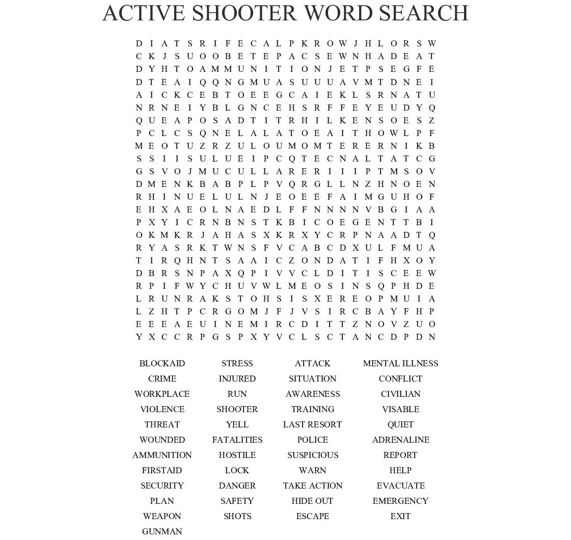 Terrorism Word Search