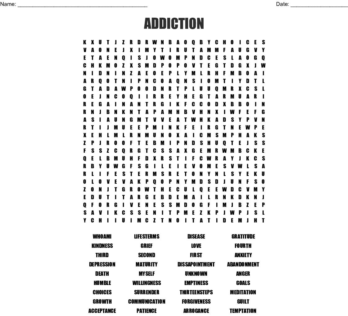 Steps To Recovery Word Search