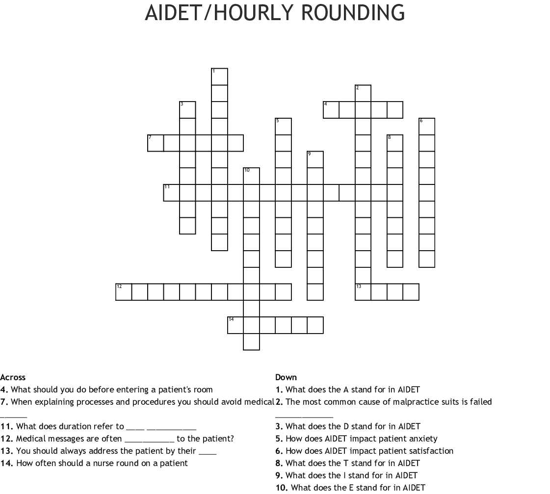 Hourly Rounding Crossword
