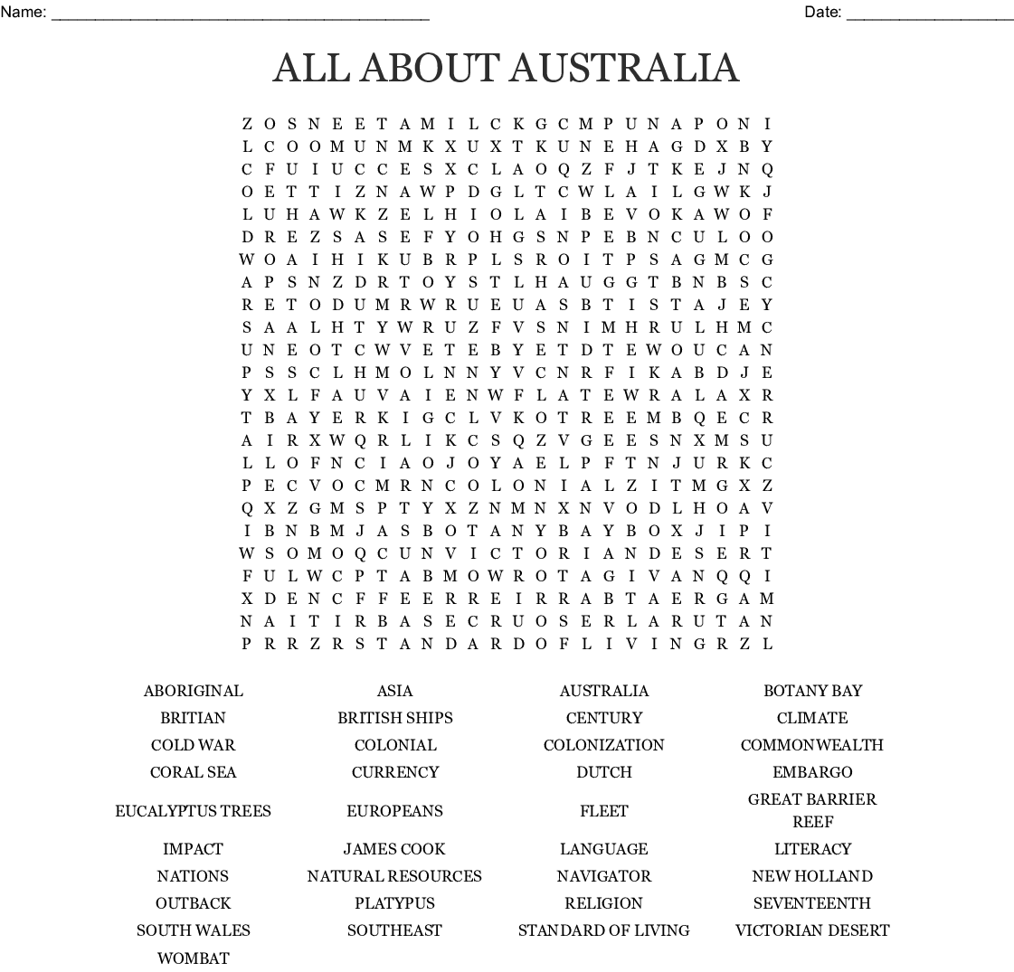 Australian Colonisation Word Search