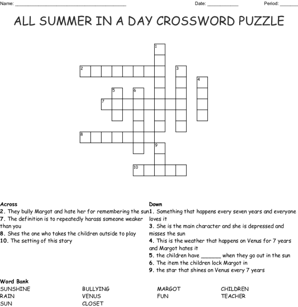 All Summer in a Day Crossword - WordMint