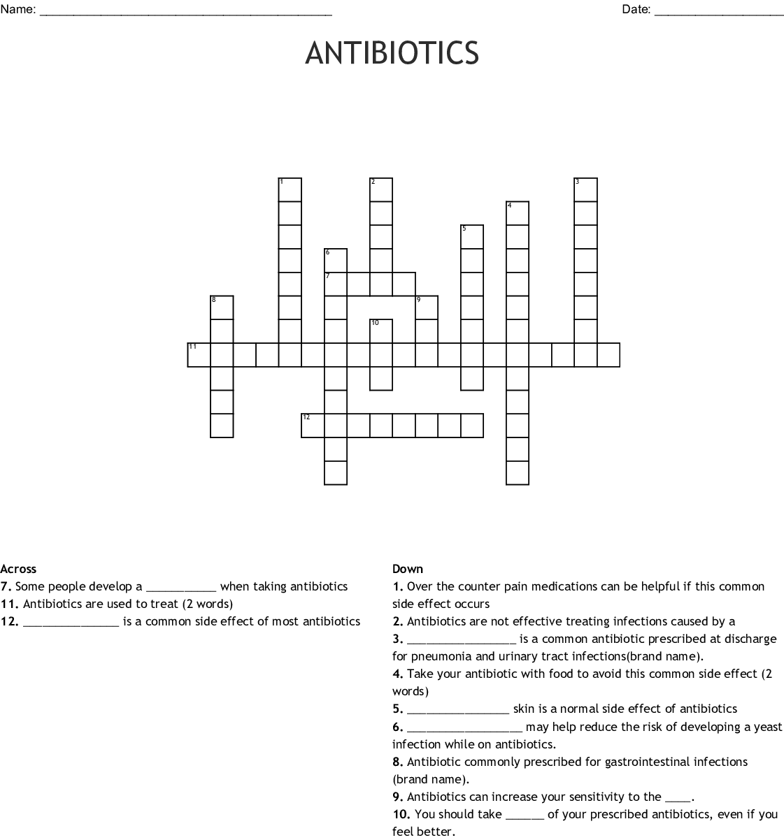 Antibiotics Medication And Side Effects Word Search