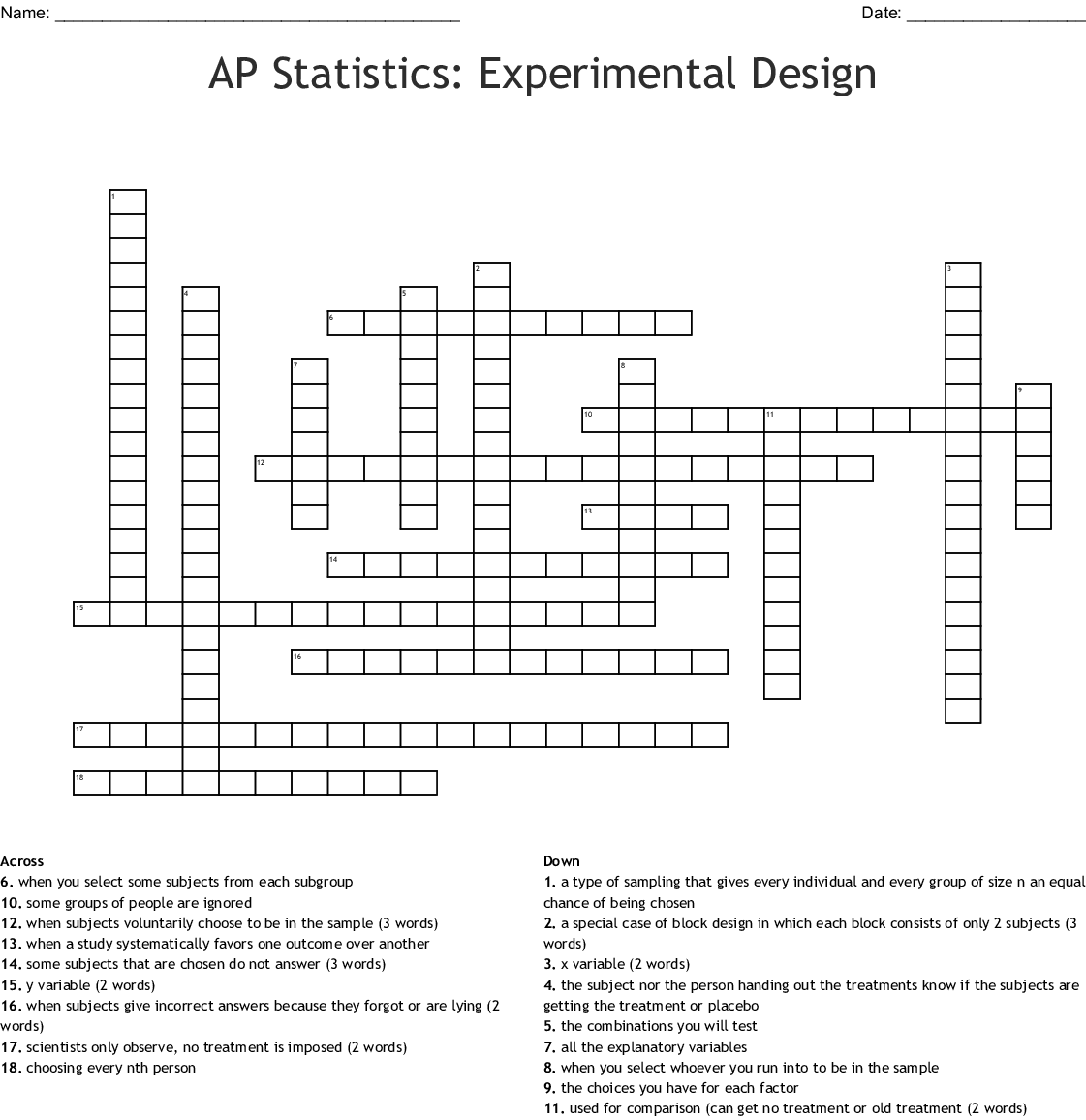 Statistics Vocabulary Crossword