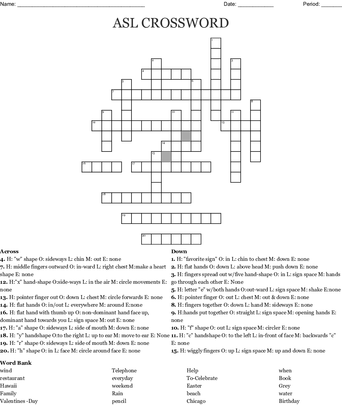 Asl Crossword
