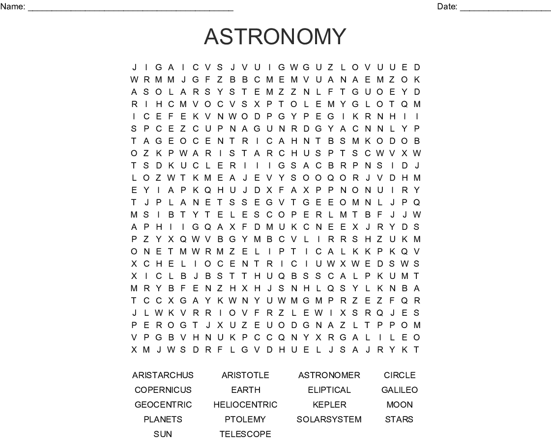 Astronomy Word Search
