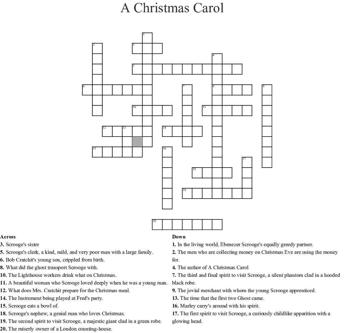 A Christmas Carol By Charles Dickens Word Search
