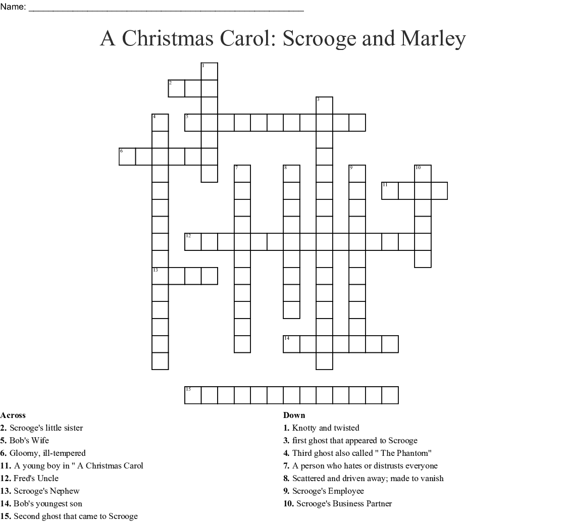 A Christmas Carol Scrooge And Marley Crossword