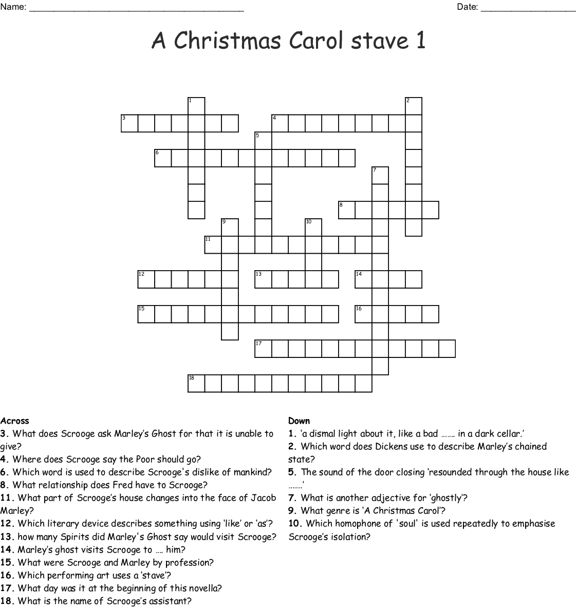 A Christmas Carol Stave 1 Crossword