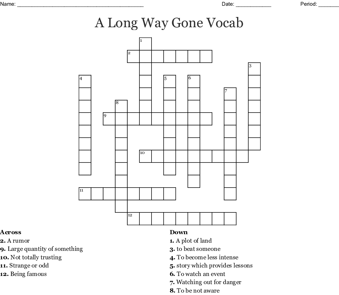 Wonderstruck Vocabulary Crossword