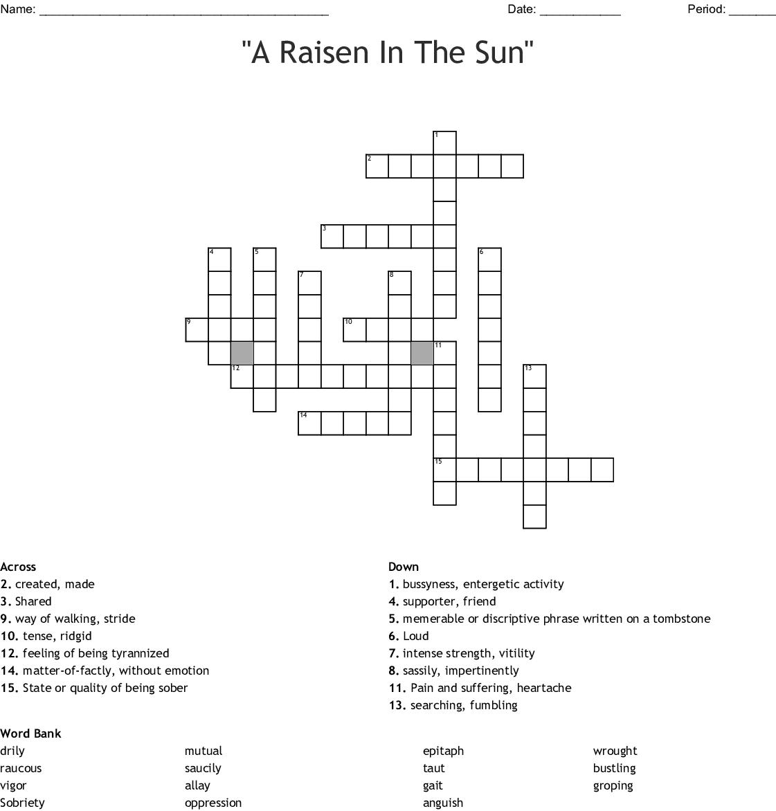 A Raisin In The Sun Vocabulary Crossword