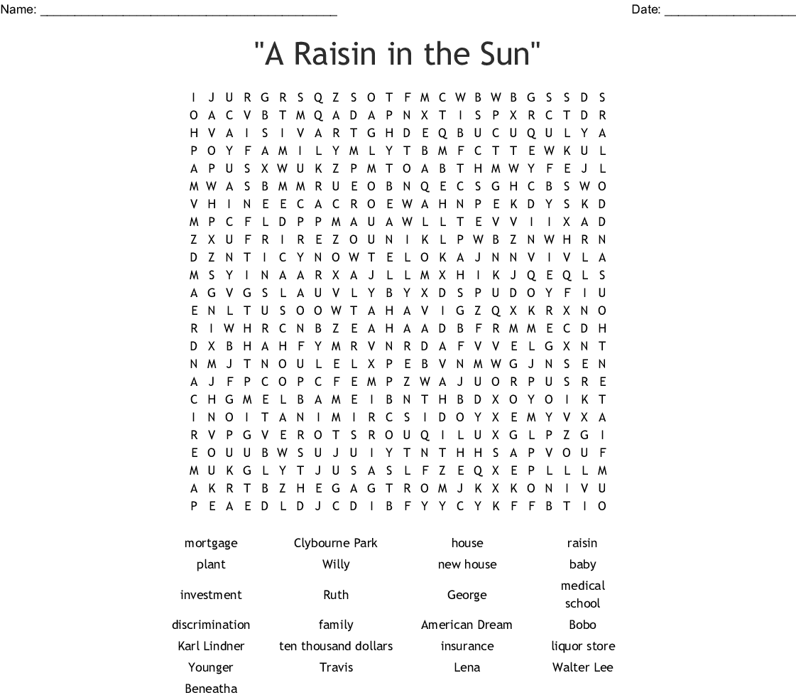 A Raisin In The Sun Word Search