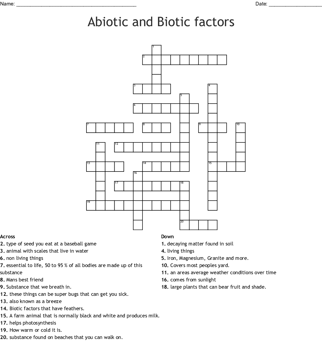Abiotic And Biotic Factors Word Search