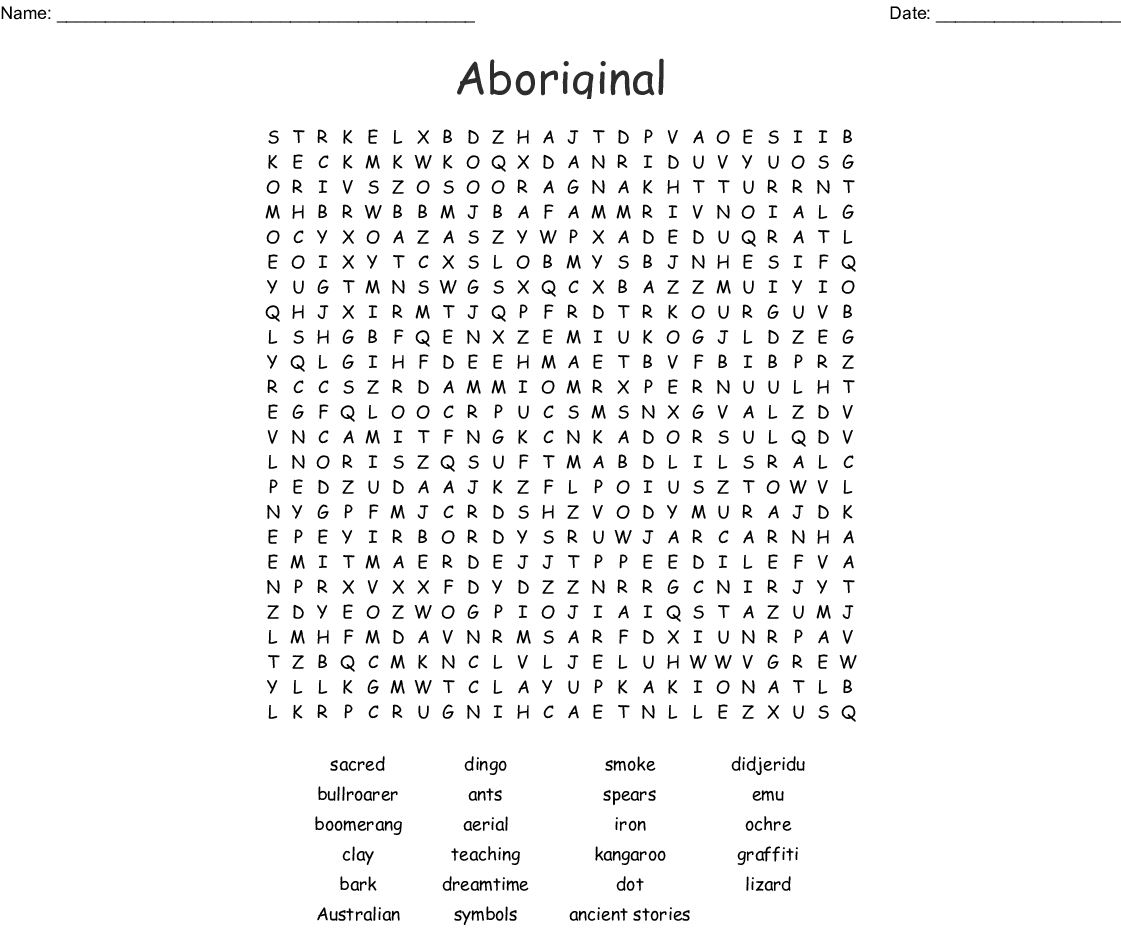 Aboriginal Word Search