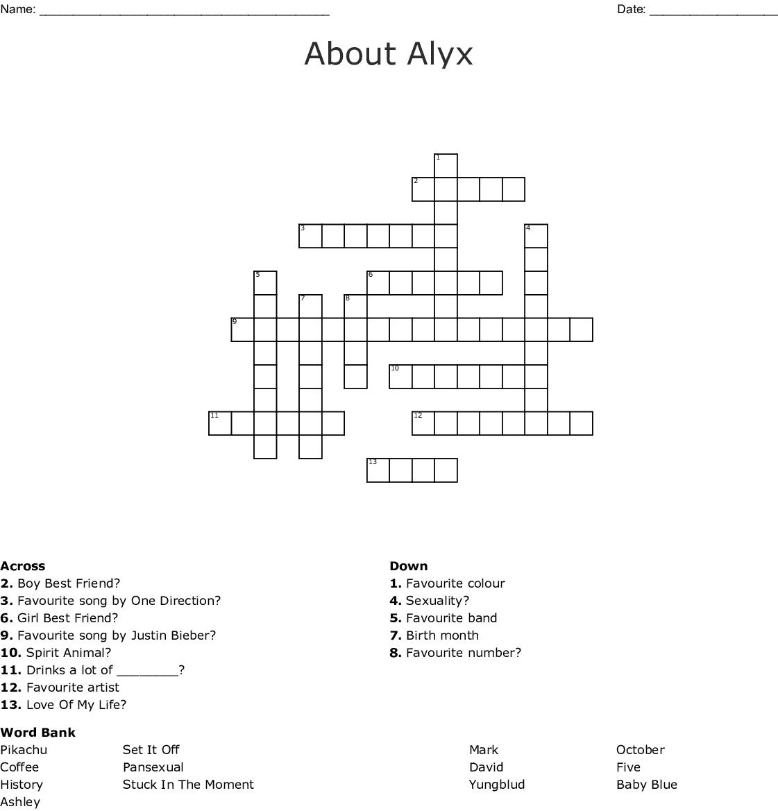 About Alyx Crossword