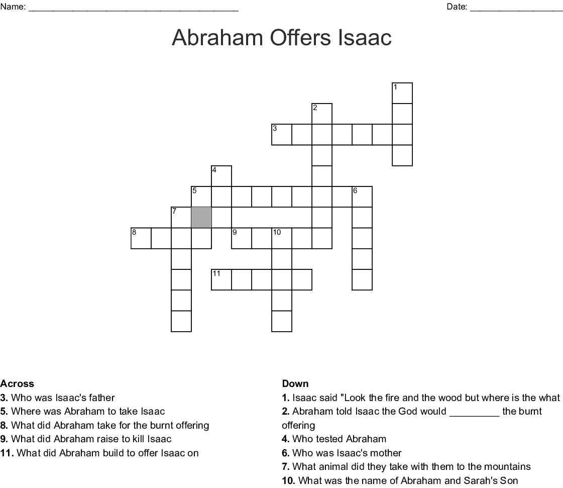 Abraham And Isaac Word Search