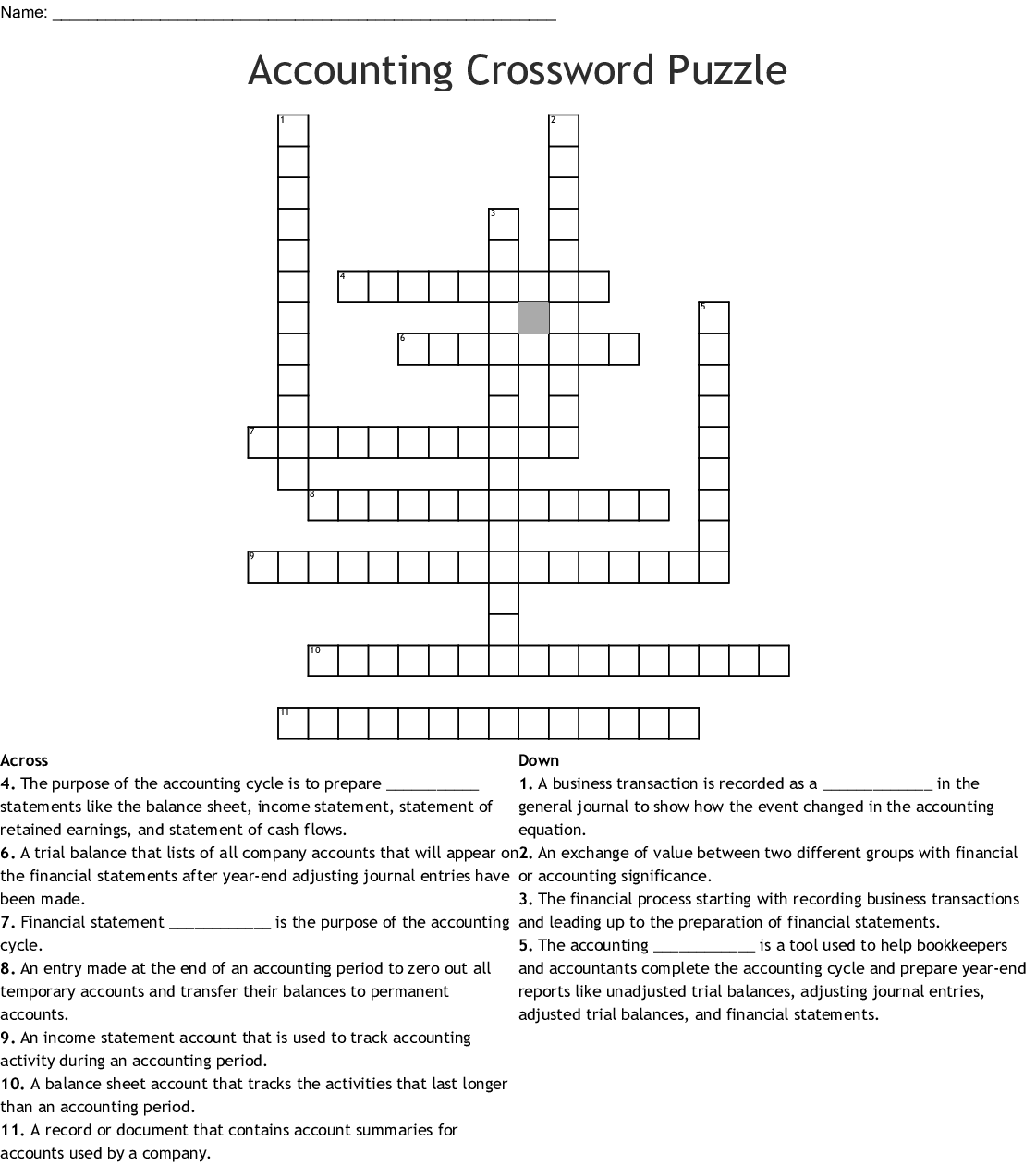 Business Marketing And Finance Crossword Puzzle Answers