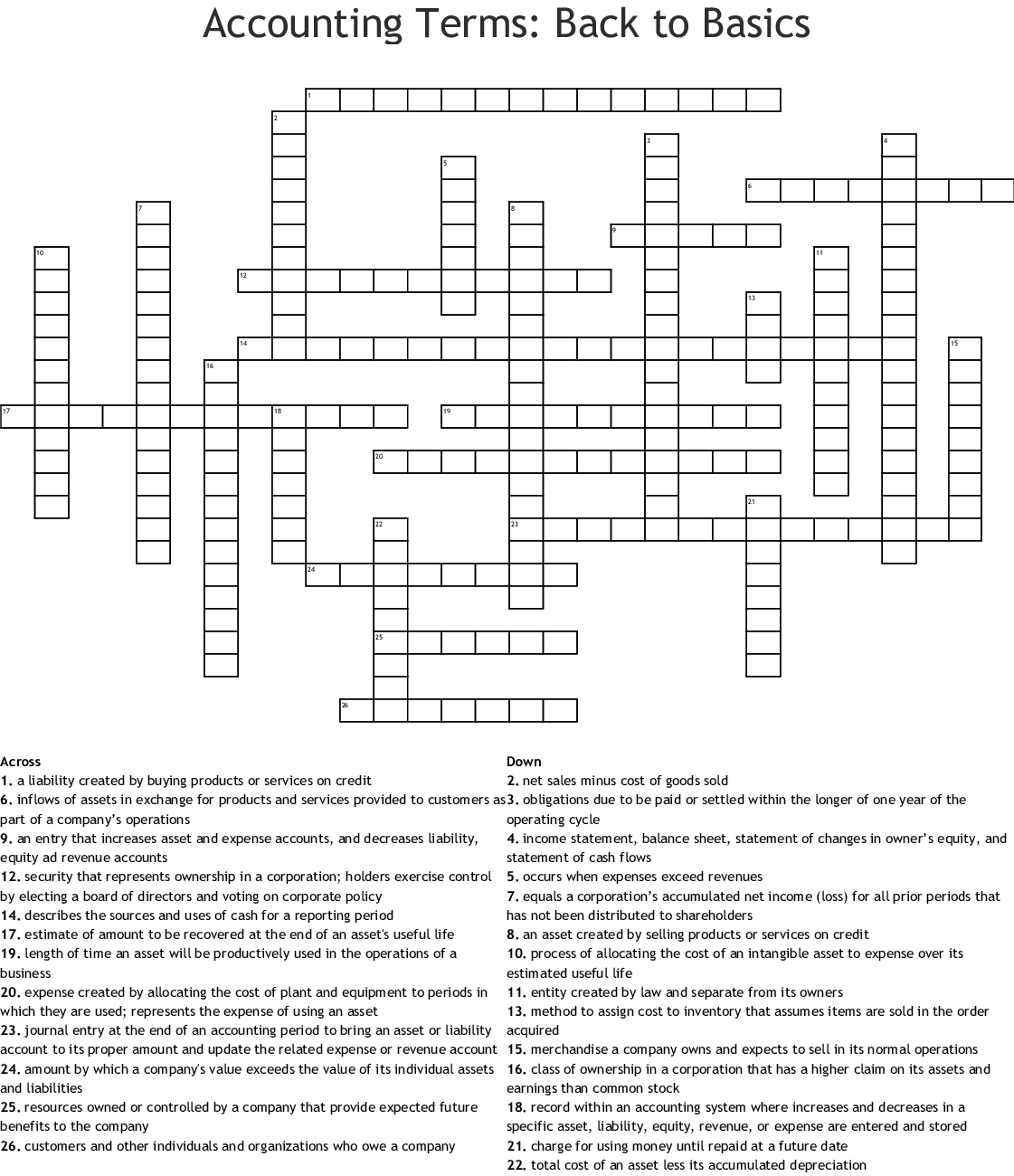 Accounting Terms Back To Basics Crossword