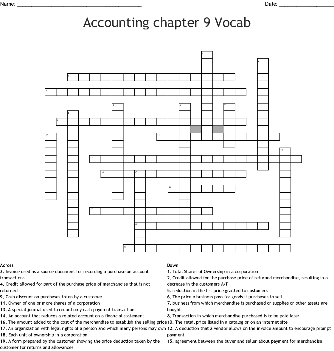 Accounting Word Search