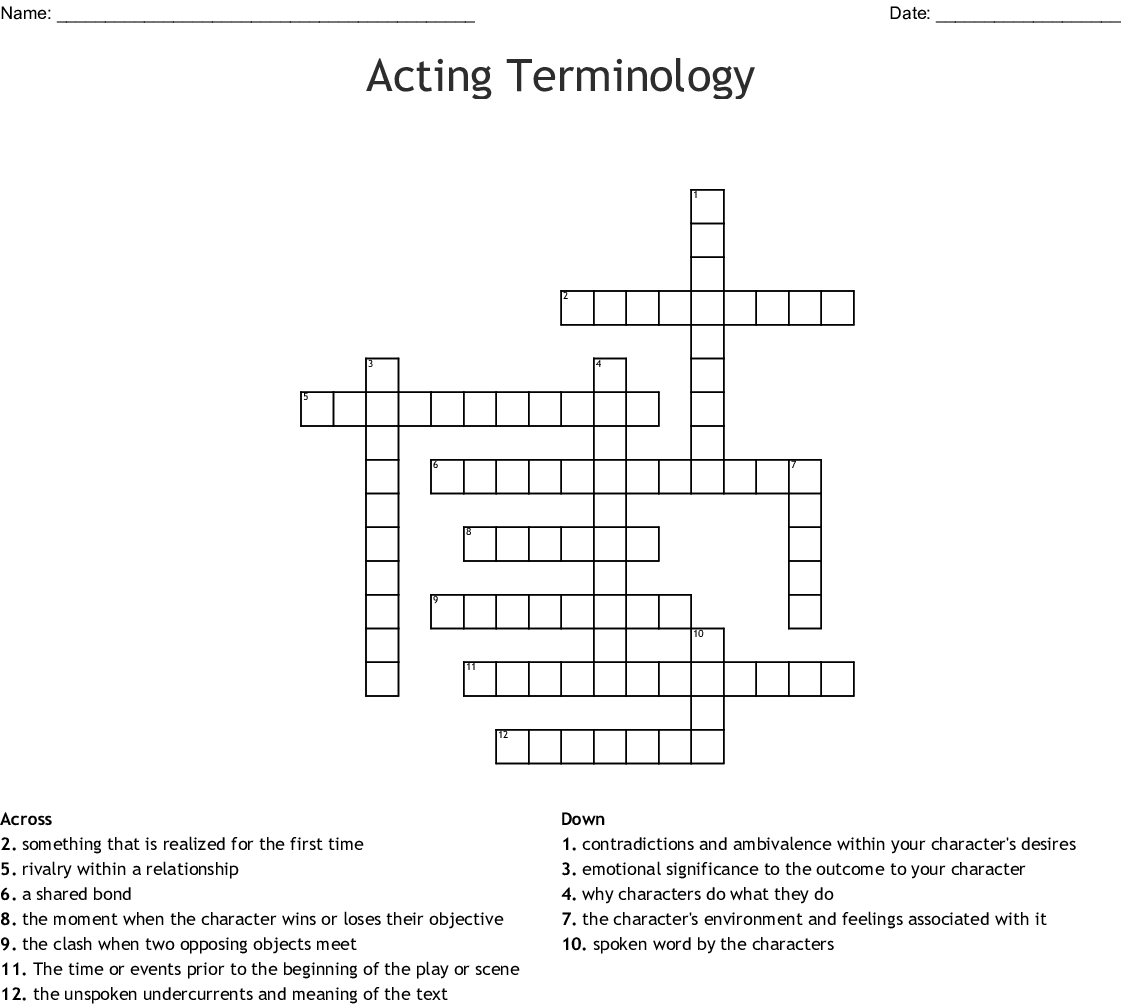 33 Acting And Theatre Terminology Worksheet Answers