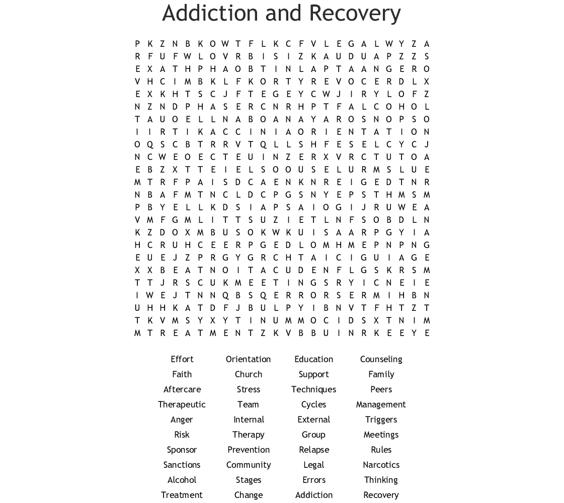 Addiction And Recovery Word Search