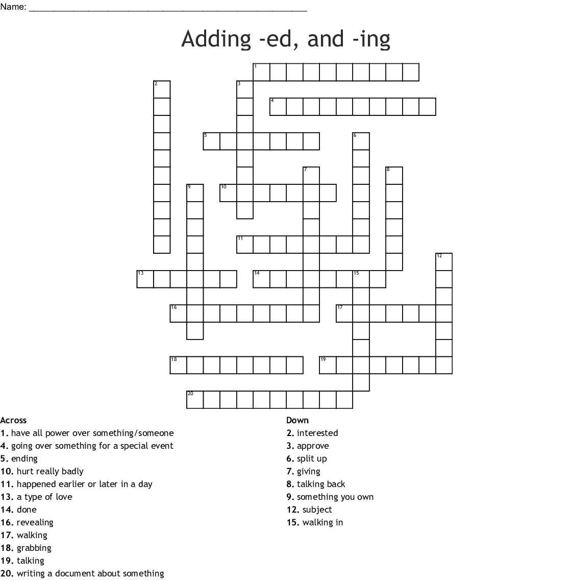 Spelling Words Ing And Ed Endings Word Search