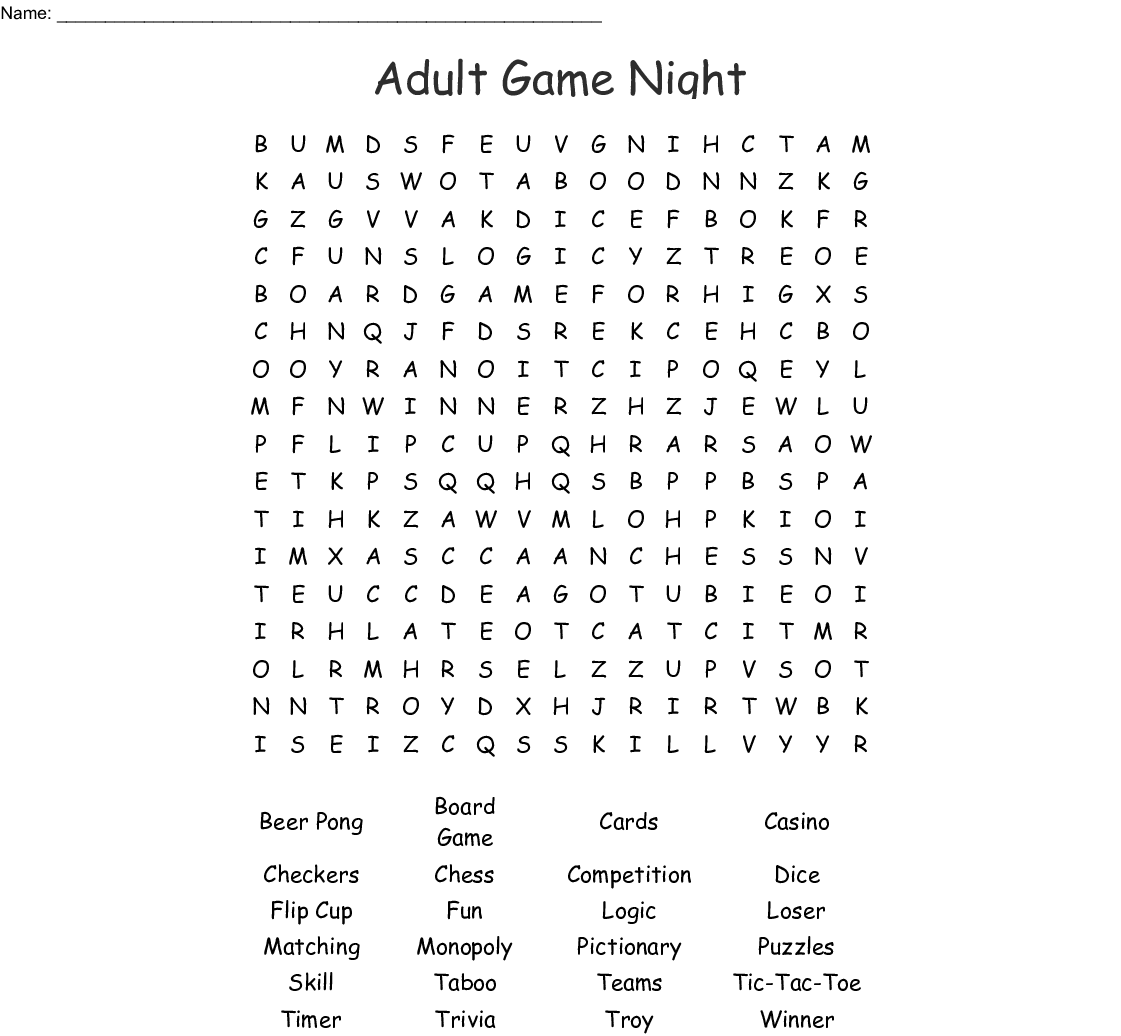 Adult Game Night Word Search