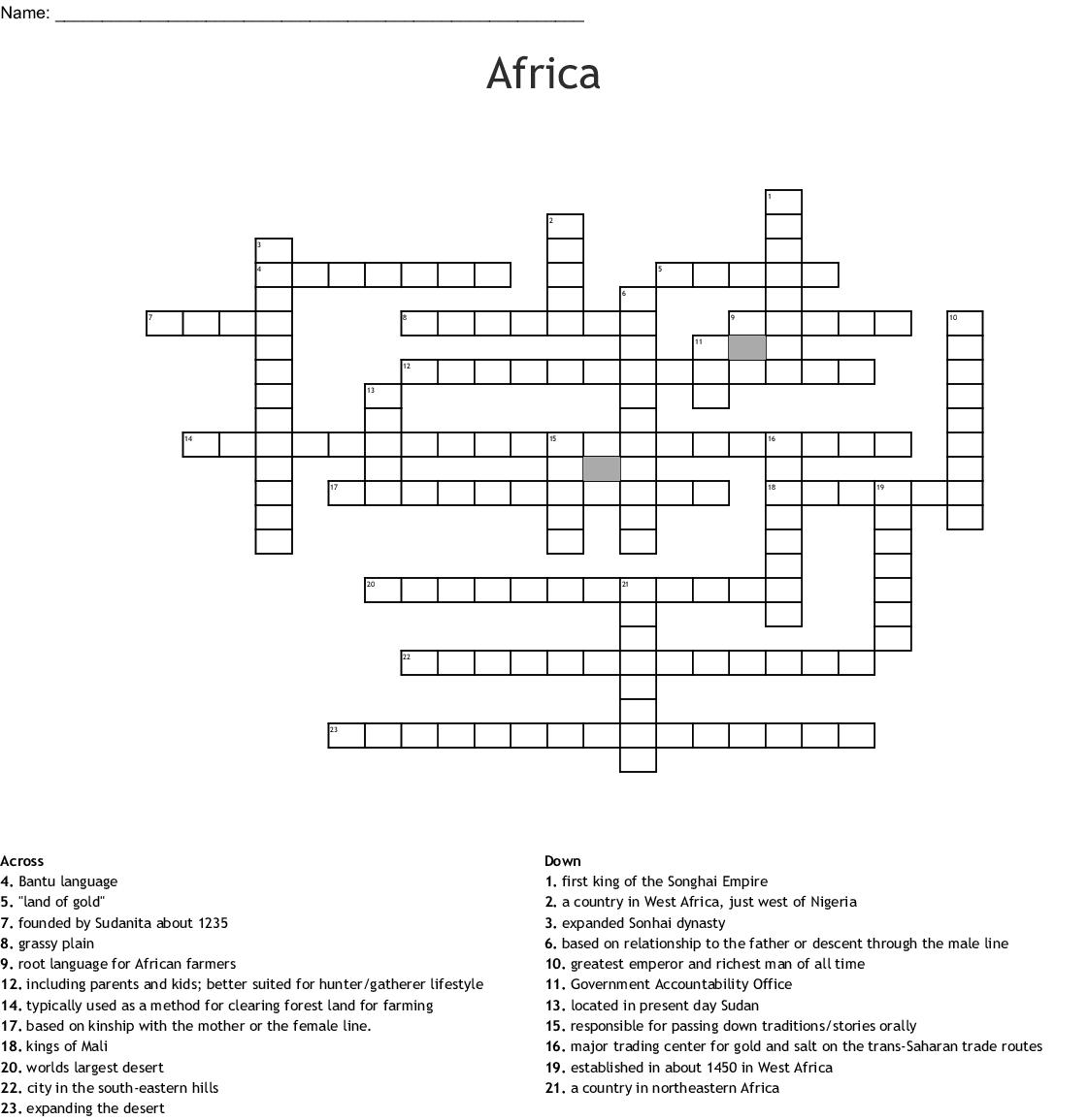 Africa Crossword